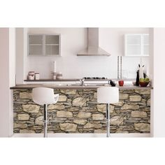 WallPops Hadrian Ledger Stone Wall Peel and Stick Wallpaper Nu Wallpaper, Beige Wallpaper, Stone Wallpaper, Wallpaper Samples, Adhesive Wallpaper, Peel And Stick Vinyl, Peel And Stick Wallpaper, House Painting Cost, White Wash Walls