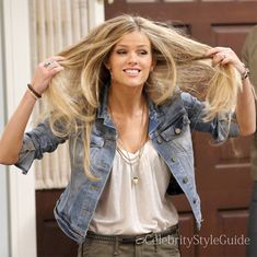 Seen on Celebrity Style Guide: Jules (Brooklyn Decker) wears this light wash jean denim jacket and cargo jeans on Friends With Better Lives Season 1 Episode 4 �Pros and Cons�