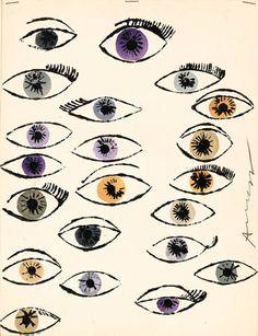 Andy Warhol  ~ Untitled (Eyes), 1950