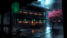 General 1920x1080 Asian architecture cherry blossom paper lantern rain