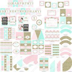 One First Birthday girl pink mint gold PRINTABLE Deluxe Birthday Package chevron polka dot glitter 1st birthday - 1031