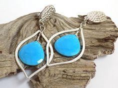Clip on Earrings for Women, Turquoise Earrings, Silver Teardrop Earrings, Large Earrings, Handmade Gemstone Jewelry, Handcrafted Jewelry by BlondePeachJewelry on Etsy