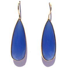 Bright blue Chalcedony earrings