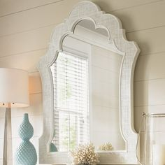 Shop the Ivory Key Sandys Accent Mirror at Perigold, home to the design world's best furnishings for every style and space. Plus, enjoy free delivery on most items. Silver Wall Mirror, Beveled Mirror, Tommy Bahama, Mirrored Bedroom Furniture, Luxury Furniture, Crown Decor, Lexington Home, Pastel House, Fabric Panels