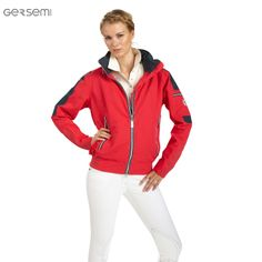 Gersemi Unisex NorNor Jacket, £98. Waterproof bomber-style jacket in Poppy with navy and white contrast piping
