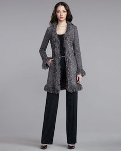 Tweed-Knit Fringe Jacket, Rib-Knit Tank & Shelley Pants by St. John Collection at Neiman Marcus.