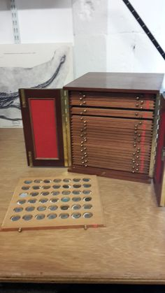 Storage cabinet for some of the Roman coins in the York Museums Trust collection.