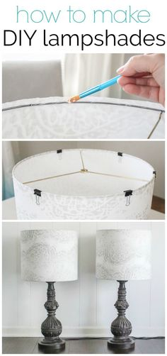 How to make a lampshade - making custom diy lampshades is a quick and easy project.  #lovelyetc #diyhomedecor #lampshade #lamps