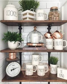 Farmhouse Style Kitchen With Open Shelves And Vintage . Home: White Art Shelves In The Living Room Positively Oakes. Home and Family Kitchen Shelf Decor, Kitchen Shelves, Diy Kitchen, Glass Shelves, Kitchen Ideas, Kitchen Wood, Open Shelves, Shelving Decor, Kitchen Hutch