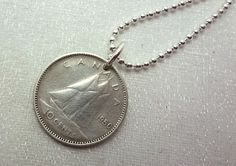 Canadian Coin Necklace  Vintage silver by FindsAndFarthings