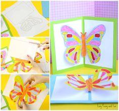 Butterfly Pop Up Card Tiskná šablona