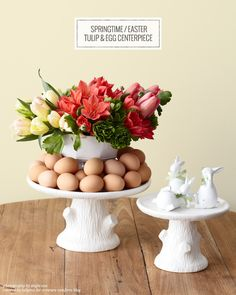 DIY Springtime / Easter Tulip & EggCenterpiece   Created by @Tulipina for Creature Comforts Blog   Photo by Angie Cao