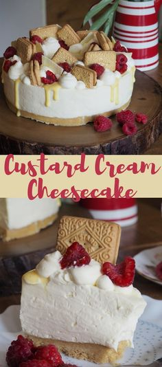 Custard Cream Cheesecake made with custard & custard cream biscuits, decorated with raspberries and white chocolate shards! Perfect no bake cheesecake for a tea party. Keto Friendly Desserts, Low Carb Desserts, Cheesecake Recipes, Dessert Recipes, Cheesecake Bites, Dessert Ideas, Cake Ideas, Custard Cream Cheesecake, Cheesecake Decoration