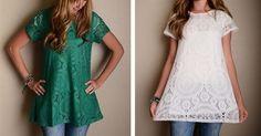 Lace Tunics $15.99!