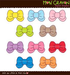 Colourful Bows Digital clip art, pink, blue, yellow, purple , instant download clip art on Etsy, $3.90