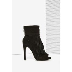 Kaili Fringe Suede Bootie (36 KWD) ❤ liked on Polyvore featuring shoes, boots, ankle booties, black, black peep toe booties, suede ankle boots, suede booties, short black boots y black high heel boots