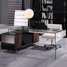 glass and acrylic/walnut cabinet modern executive desk moderndigsfurniture.com