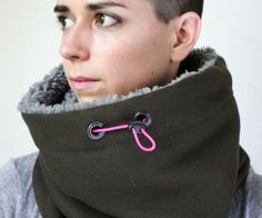 mini Snock® unisex cowl scarf in thick green khaki wool by jaffic