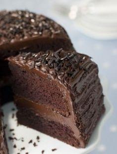 CHOCOLATE FUDGE CAKE. Fudgy frosting recipe!