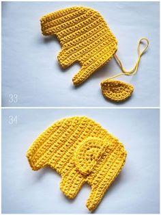 Handmade and Beautiful: Crochet Elephant Crochet Crochet Pattern Crochet Doll Pattern, Crochet Toys, Free Crochet, Knit Crochet, Crochet Patterns, Crochet Elephant, Crochet Squares, Sewing Projects For Beginners, Baby Knitting