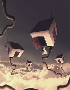 Creative Photo Manipulations by Norvhic Fernandez Austria- i love the strange surrealism of this piece the floating houses with the endless sky. its interesting to look at with the muted colors and interesting lines.