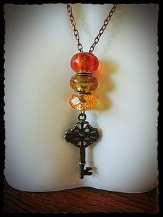 Key of Life Lampwork Glass Bead Necklace by JensPremierJewels, $19.00