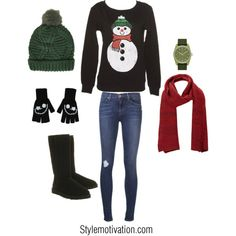 "Perfect cute ""Christmas sweater"" outfit no gloves though not a huge glove person~~"