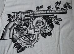black market tattoos | Peacemaker TATTOO SHIRT Gun Colt Revolver Black Market Western Country ...