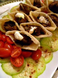 Slice of Southern: Moroccan Flavored Meatballs with Pita, Tomatoes, and Cucumber