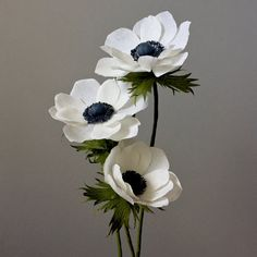Crepe Paper Anemone Bouquet 3 stems Paper Flowers by NectarHollow