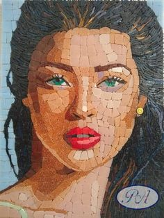 Perla Anselmi Mosaic Tile Art, Mosaic Artwork, Mosaic Crafts, Paper Mosaic, Mosaic Portrait, Portrait Art, Portraits, Free Mosaic Patterns, Art Diy