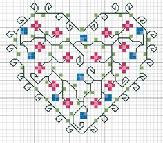 Cross-stitch Floral Heart ... no color chart available, just use pattern chart as your color guide.. or choose your own colors... COEUR
