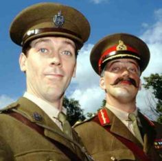 Hugh Laurie as Lieutenant George and Stephen Fry as General Melchett in Blackadder Goes Forth