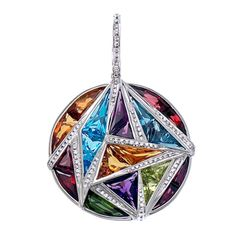 #designerneckalces 18kt white gold geometric enhancer pendant with round brilliant diamonds and multi-coloured gems by Bellarri