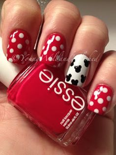 Minnie Mouse manicure. Perfect for 2014 summer FL vacation!