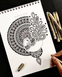 Mandala Art Therapy, Mandala Art Lesson, Mandala Artwork, Doodle Art Drawing, Mandala Drawing, Doodle Art Designs, Madhubani Art, Dot Art Painting, Buddha Art