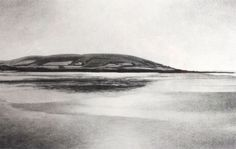 Spring Low tide, Croyde beach, North Devon, Down End headland in view, sunshine glare on wet sand.  The original drawing was created in charcoal on archival quality paper, and is available in the shop. Limited edition prints are also available:  	Limited Edition Print. 	Only 50 available. 	They come presented in a 3″ wide chalk white mount, sellophane wrapped, with