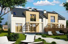 Projekt domu bliźniaczego Zb13 wycena budowy, projekty domów, kreoDOM.pl Home Fashion, Ideas Para, House Plans, Mansions, House Styles, Houses, Outdoor Decor, Mille, Home Decor