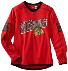 NHL Chicago Blackhawks Long Sleeve Jersey T-Shirt, Large by Reebok. $16.00. Reebok Chicago Blackhawks Faceoff Team Jersey Long Sleeve T-Shirt - RedImportedOfficially licensed NHL productScreen print graphics60% Cotton/40% PolyesterContrast-colored stitching60% Cotton/40% PolyesterScreen print graphicsContrast-colored stitchingImportedOfficially licensed NHL product