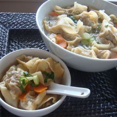 Soups Stews And Chili, Wonton Soup, Wontons Stuffed With A Mixture Of Pork And Shrimp Seasoned With Soy Sauce And Ginger Root Are Gently Simmered In Chicken Broth. Wonton Recipes, Soup Recipes, Great Recipes, Cooking Recipes, Favorite Recipes, Copycat Recipes, Korma, Biryani, Wontons