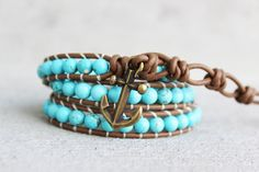Turquoise Leather Wrap Bracelet - Anchors - on Etsy, $39.00
