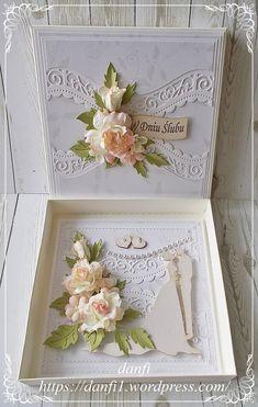 Pasje danfi   Może nie jestem ideałem, lecz przynajmniej jestem SOBĄ! ;-)   Strona 7. Wedding Cards Handmade, Handmade Birthday Cards, Wedding Scrapbook, Scrapbook Cards, Wedding Gifts For Bride And Groom, Wedding Certificate, Heartfelt Creations, Flower Cards, Anniversary Cards