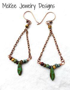 Czech Picasso glass and copper metal earrings. Boho earrings.