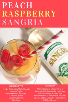 This peach raspberry sangria is irresistible. Vodka, peach Schnapps and Authentica White Sangria and fresh fruit are used to make this yummy cocktail. #sangria #cocktails #drinkrecipes #peachraspberry #authentica Sangria Drink, Sangria Cocktail, Summer Sangria, Cocktails, Drinks, Raspberry Sangria, White Sangria, Peach Schnapps, Sangria Recipes