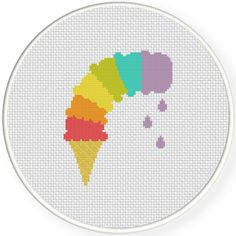 Charts Club Members Only: Ice Cream Drips Cross Stitch Pattern