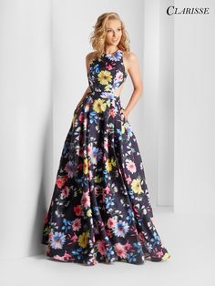 Optical Floral Print A-line Prom Dress 3567