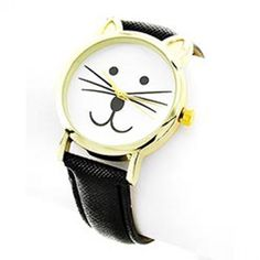 Cat Face Black Leather Watch