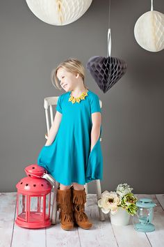Ryleigh Rue Clothing by MVB - Toddler V- Neck Draped Dress Neon Blue, $21.00 (http://www.ryleighrueclothing.com/new/dresses/toddler-v-neck-draped-dress-neon-blue.html/)