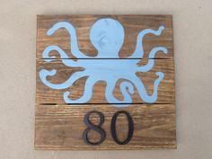 Blue Octopus Rustic Wood Plank Address Marker / Coastal House Number Sign…