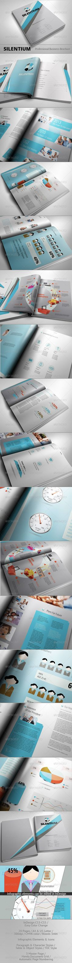 SILENTIUM - Modern Business Brochure  #GraphicRiver         SILENTIUM – Modern Business Brochure 18-page professional business InDesign brochure.    Perfect for corporate use  Features:    InDesign  CS3 -CS5 files  300dpi / CMYK color / bleeds 3mm   Easy Color Change  Free Font Used  Infographic Elements & Icons. Infographics can be edited in InDesign (except the icons in the Business Development section and shadows under objects. It's linked as PSD files).
